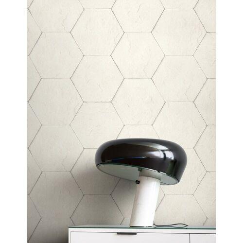 Newroom Vliestapete, Weiß Tapete Modern Stein - Hexagon Creme Grau Steintapete Steinoptik Backstein Industrial Bauhaus für Wohnzimmer Schlafzimmer Küche, weiß