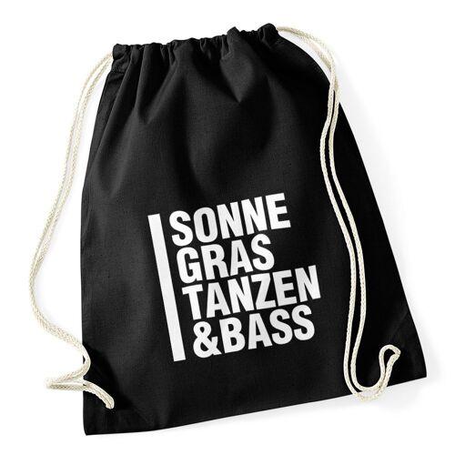 """MoonWorks Turnbeutel »Turnbeutel Techno Drogen """"Sonne Gras Tanzen und Bass"""" Festival-Beutel ®«"""