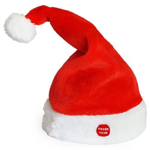 lux.pro Weihnachtsfigur, Weihnachtsmütze mit Musik Tanzend Singend Weihnachten Nikolaus Mütze