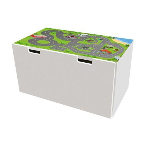STIKKIPIX Möbelfolie »BTD01«, Stadt Möbelfolie, Möbelaufkleber mit Straßen-Motiv, passend für die Kinderzimmer Banktruhe STUVA von IKEA (90 x 50 cm), Möbel Nicht Inklusive