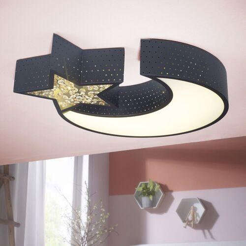 Wohnling LED Deckenleuchte, LED-Deckenleuchte NIGHTSKY Metall EEK A+ Deckenlampe Mond & Stern schwarz Design Kinderzimmer-Lampe 30 Watt 2550 Lumen warmweiß Schlafzimmerlampe 55 x 50 cm