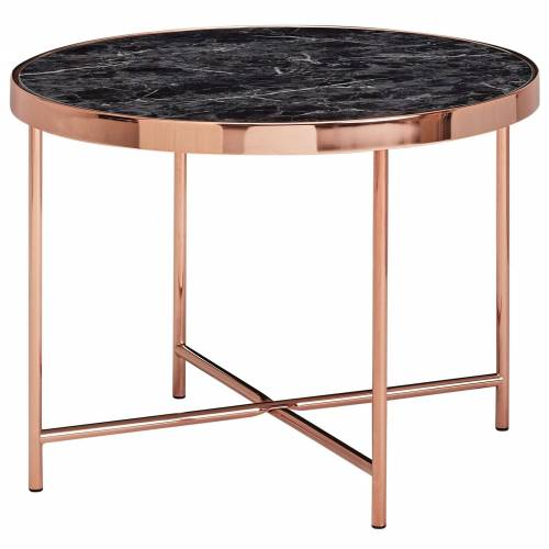 FINEBUY Beistelltisch »FB53076«, Design Beistelltisch Rund Ø 60 cm in Marmor Optik Schwarz Wohnzimmertisch mit Metallgestell in Kupfer Runder Couchtisch Wohnzimmer