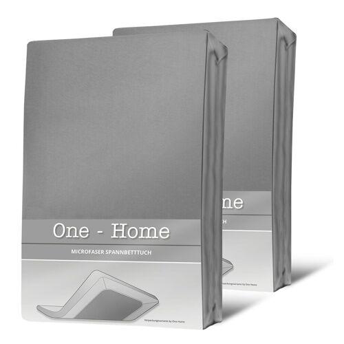 One Home Spannbettlaken »Mikrofaser«, , Double Pack mit Rundumgummizug, grau