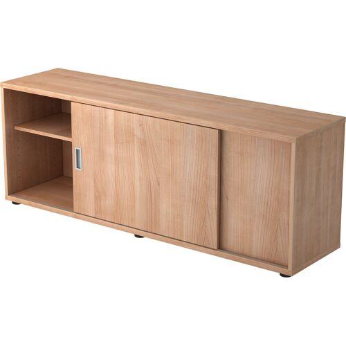 bümö Sideboard »OM-1758S«, Lowboard mit Schiebetür, Stauraum für Ordner, Deko & Bücher - Dekor: Nussbaum/Nussbaum, Nussbaum/Nussbaum