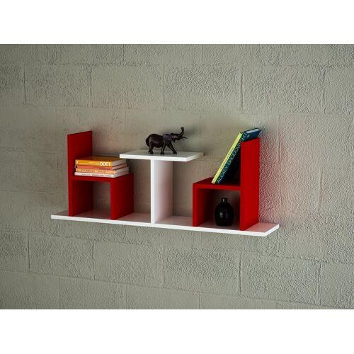 moebel17 Wandregal »Wandregal Sense Weiß Rot«, mit 7 Ablageflächen