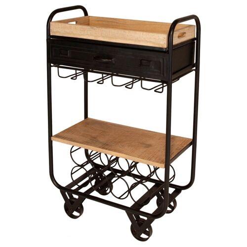 mokebo Beistelltisch »Der Kredenzer«, auch als Küchenwagen oder rollbarer Beistelltisch aus Holz & Metall