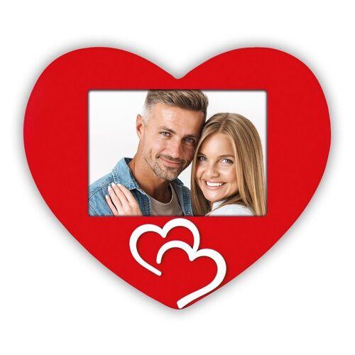 matches21 HOME & HOBBY Bilderrahmen »Bilderrahmen in Herzform mit zwei angebrachten Herzen«, (1 Stück), Hochzeit