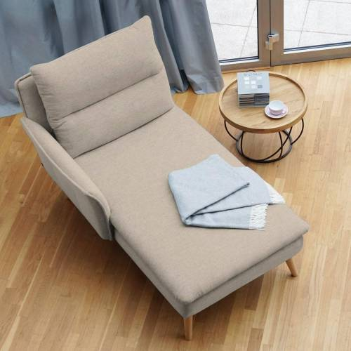 PLACE TO BE. Recamiere, Recamiere Ottomane Chaiselongue Sitzbank Polsterbank Tagesbett Daybed mit Armlehne links, Creme