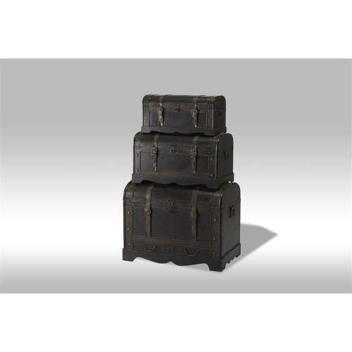 ebuy24 Truhe »Kiras Truhen 3 stk. in schwarz mit runden Deckel.«