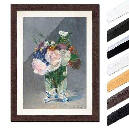 Bilderdepot24 Wandbild, Édouard Manet - Blumen in einer Kristallvase, Wenge
