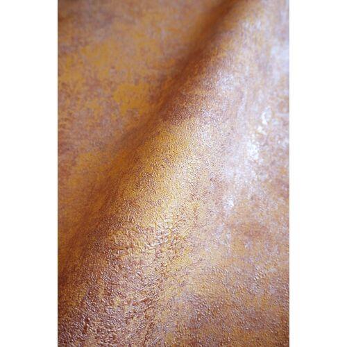 Newroom Vliestapete, Orange Tapete Leicht Glänzend Modern - Mustertapete Metalic Braun Bronze Hexagon Grafisch für Schlafzimmer Wohnzimmer Küche
