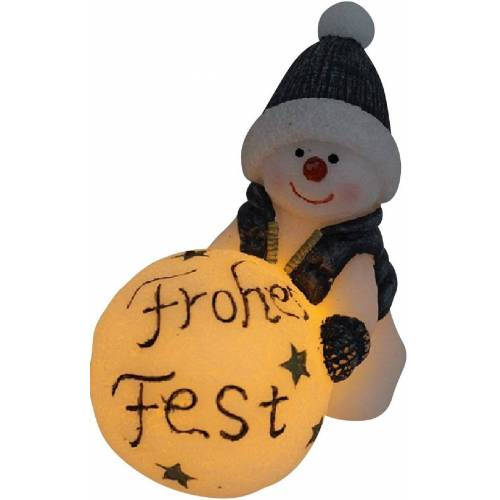 JOKA international LED-Kerze »LED Kerze Schneemann mit Schneekugel Frohes Fest 15291« (1 Stück), LED Kerze als Schneemann mit Frohes Fest