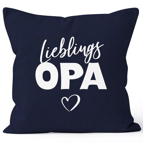 MoonWorks Dekokissen »Kissen-Bezug Lieblings-Opa Kissen-Hülle Deko-Kissen Geschenk ®«, navy