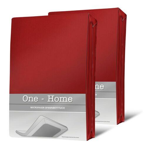 One Home Spannbettlaken »Mikrofaser«, , Double Pack mit Rundumgummizug, rot