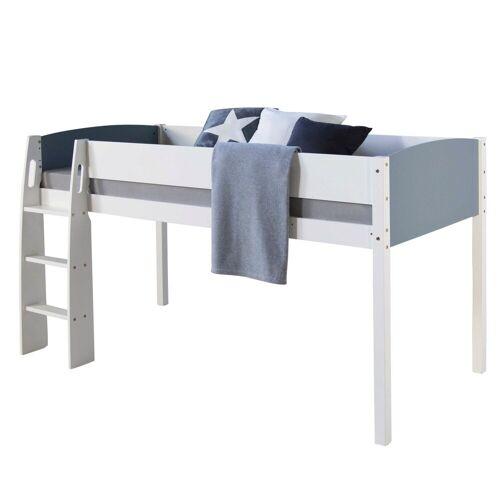 Homestyle4u Hochbett Kinderbett 90x200 cm, weiß-grau