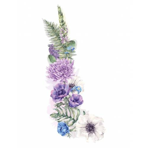 dekodino Wandtattoo »Blumen Aquarell Blumenranke mit Blättern« (1 Stück)