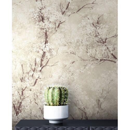 Newroom Vliestapete »Bene Muster 1«, Beige Tapete Leicht Glänzend Floral - Blumentapete Mustertapete Weiß Schwarz Baum Modern für Schlafzimmer Wohnzimmer Küche, natur