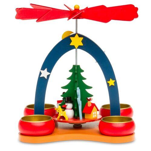 SIKORA Weihnachtspyramide »P26 kleine bunte Kinder Teelicht Holz Weihnachtspyramide H:19cm«