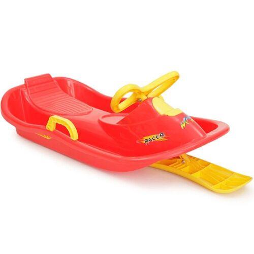 Moni Lenkschlitten »Kinderschlitten Racer HX004«, Kinderbob mit Zugseil, Handbremse und Lenkrad