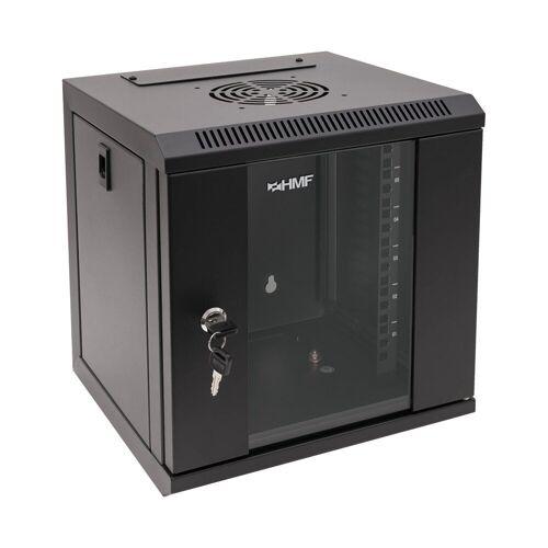 HMF »Serverschrank 10 Zoll, 6-12 HE« Netzwerk-Switch (6 HE, Netzwerkschrank, voll montiert, 31,2 x 30 x 35 cm, Schwarz), Schwarz