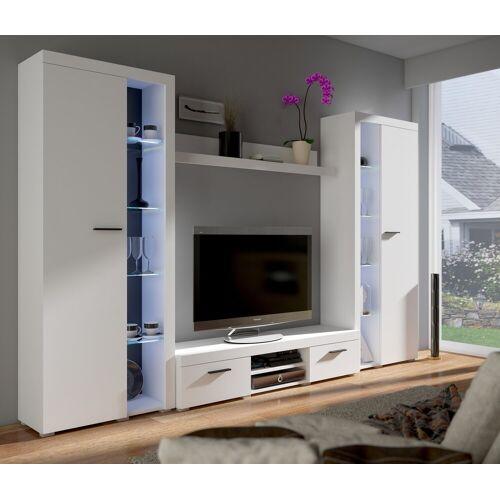 Küchen-Preisbombe Wohnwand »TOP Wohnwand Rumba XL Anbauwand Wohnkombi Wohnzimmer Weiss matt«, (4-tlg)