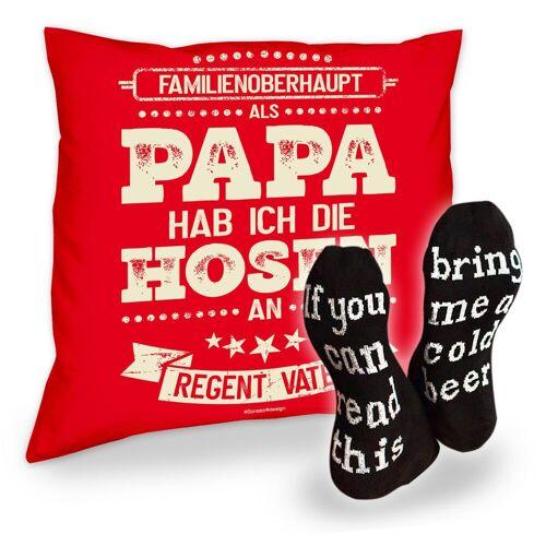 Soreso® Dekokissen »Kissen Als Papa hab ich die Hosen an und Socken mit Bier Spruch«, Geschenke für Väter Geschenkidee, rot