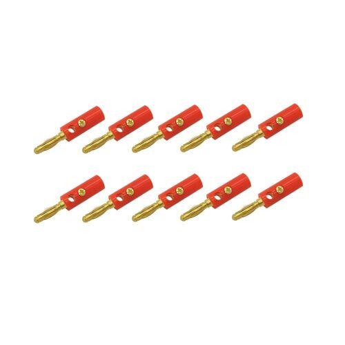 ARLI Audio-Adapter Bananen zu Rohkabel, 10x Bananen Stecker rot, rot