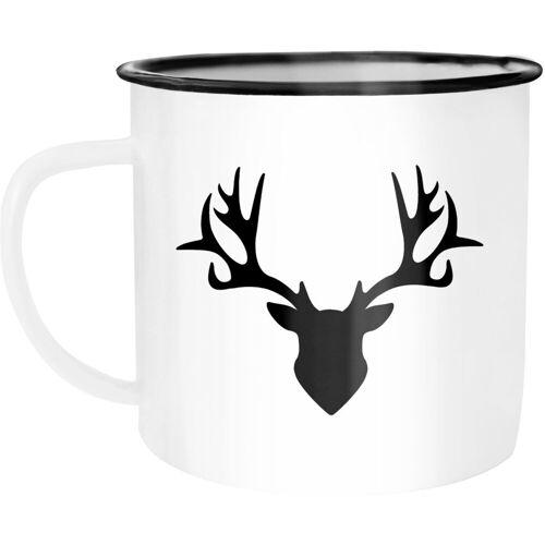 Autiga Tasse »Emaille Tasse Becher Hirsch Geweih Kaffeetasse ®«, emailliert und mit Aufdruck