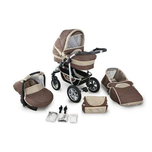 Clamaro Sport-Kinderwagen, Kombi-Kinderwagen Coral 3in1, sofort lieferbar, Babyschale (Isofix), Schwenkräder Easy-Stop Bremse, Braun