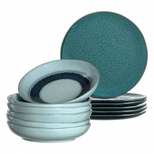 LEONARDO Geschirr-Set »MATERA Geschirr Tafelservice blau 12-teilig« (12-tlg), Keramik