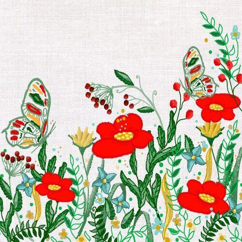 Paper+Design Papierserviette »Mohnblumen«, (5 St), 33 cm x 33 cm