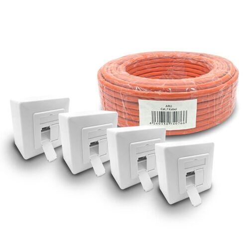 ARLI Netzwerk-Adapter, Cat7 Verlegekabel 50 m S/FTP PIMF Halogenfrei Netzwerkkabel + 4x Cat6a Netzwerkdose Set