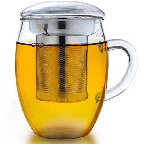 Creano Teeglas »all-in-one« (1-tlg), mit feinporigem Edelstahlsieb und Deckel, 400ml