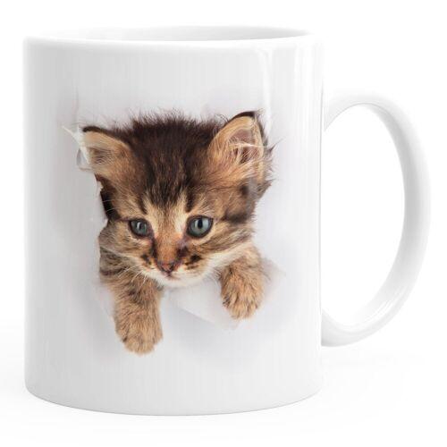 MoonWorks Tasse »Kaffee-Tasse mit süßem Katzen-Aufdruck Katzen Baby schaut aus der Tasse ®«