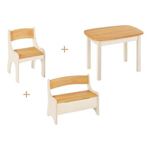 BioKinder - Das gesunde Kinderzimmer Kindersitzgruppe »Levin«, mit Tisch, Sitzbank und Stuhl, Sitzhöhe 30 cm, Erle+Weiß