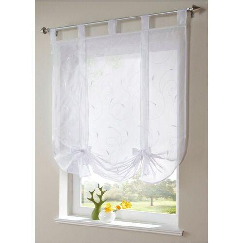 i@home Bändchenrollo »Bestickt Raffrollo Gardinen Vorhang Fenstergardinen Scheibengardinen«, , mit Schlaufen, mit Stickerei, Weiß