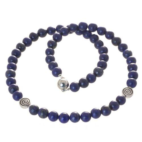 Bella Carina Perlenkette »Lapislazuli mit Spirale«, Lapislazuli mit Silber Perlen