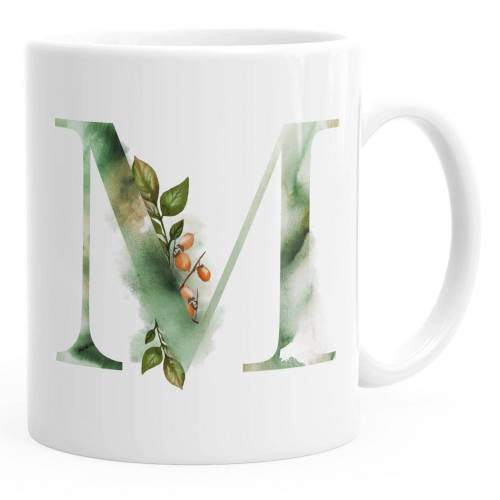 """Autiga Tasse »Buchstaben-Tasse """"M"""" Tasse mit Buchstabe Alphabet Monogramm Watercolor gezeichnet Kaffeetasse ®«"""