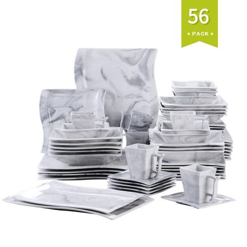 MALACASA Kombiservice »FLORA« (56-tlg), Porzellan, 56 tlg. Marmor Porzellan Geschirrset