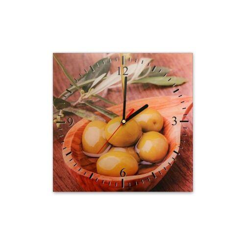 Bilderdepot24 Deco-Panel, Glasuhr - Schale mit Oliven - 035