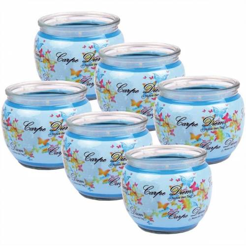 HS Candle Duftkerze (6-tlg), Kerze im Glas, Spruch-Kerze 6er Pack mit ca. 22 Std. Brenndauer, Höhe: 6cm, Ø7cm, Blau