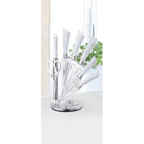 ZELLERFELD Messer-Set »Trendmax 8-teiliges Profi Messer-Set Messerblock sehr hochwertiges SelbstschärfenMesser Küchenmesser Set Kochmesser«, Marmor Weiß