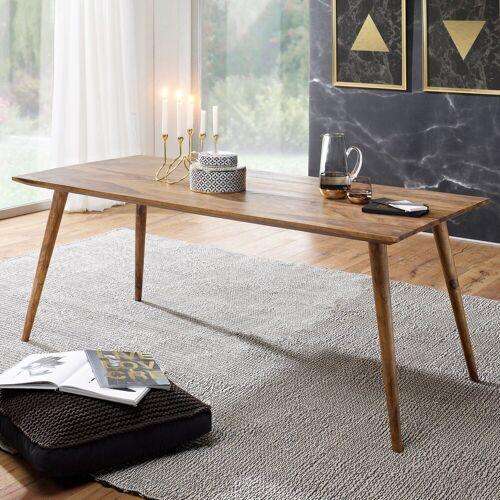 FINEBUY Esstisch »SuVa4914_1«, Esszimmertisch Sheesham rustikal Massiv-Holz Design Landhaus Esstisch Tisch für Esszimmer groß 6 - 8 Personen
