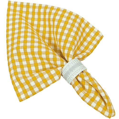 matches21 HOME & HOBBY Stoffserviette, »Textil Stoff Serviette gelb kariert«, , gelb