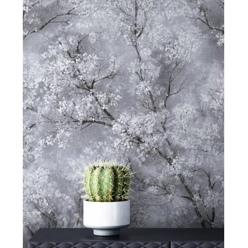 Newroom Vliestapete »Bene Muster 1«, Grau Tapete Leicht Glänzend Floral - Blumentapete Mustertapete Weiß Schwarz Baum Modern für Schlafzimmer Wohnzimmer Küche, silberfarben