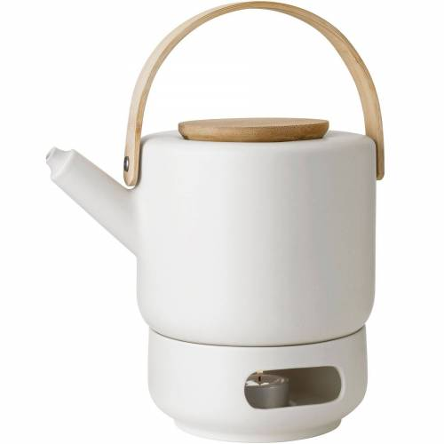 Stelton Teekanne »Theo Set Teekanne 1,25 Liter und Stövchen aus Steingut sand / beige«