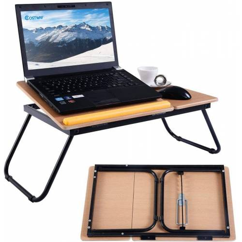 COSTWAY Laptoptisch »Betttablett faltbar Lapdecks«, Natur