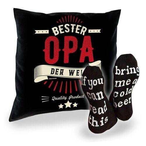 Soreso® Dekokissen »Kissen mit Füllung und Socken für Opa Großvater«, Geschenke Set Papa Opa Geburtstagsgeschenk