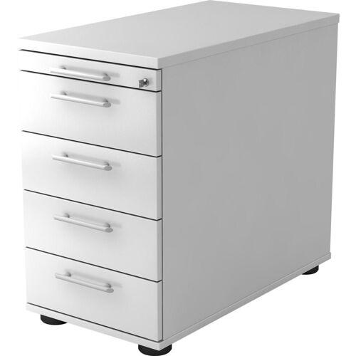 bümö Container »OM-SC50« mit Schloss & 5 Schubladen - Schreibtisch Bürocontainer, Standcontainer fürs Büro - Dekor: Weiß, Weiß