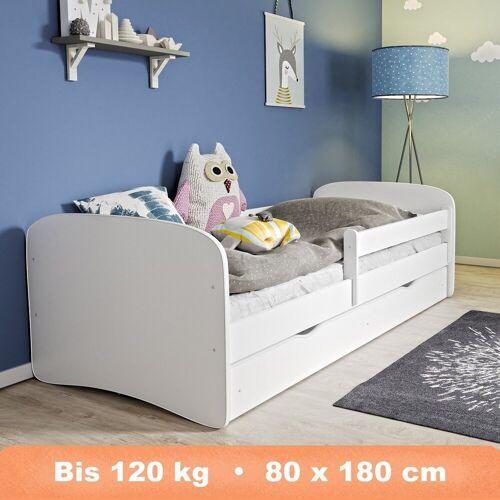 Alcube Kinderbett »inkl. Rausfallschutz, Matratze und Bettkasten als Set«, Jugendbett mit Kantenschutz für Mädchen und Jungen, Bett für Kinderzimmer in Weiß